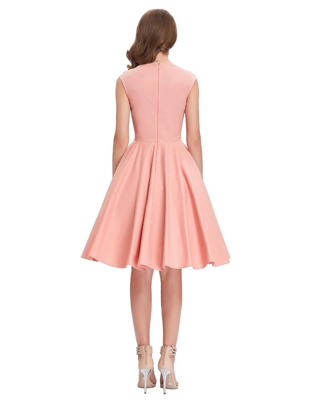 Rojo rosa verde negro Rockabilly Vestido ocasional mujeres Belle ...
