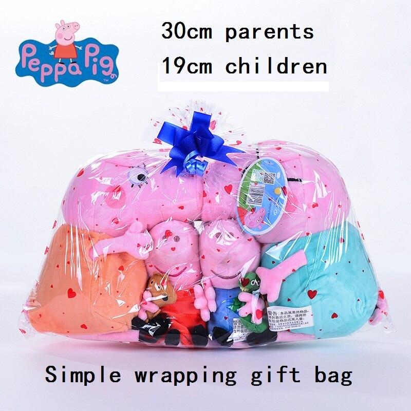 Original 4 piezas 19-30 cm Rosa Peppa Pig felpa cerdo juguetes de alta calidad Venta caliente suave Peluche de dibujos animados Animal muñeca para regalo de los niños