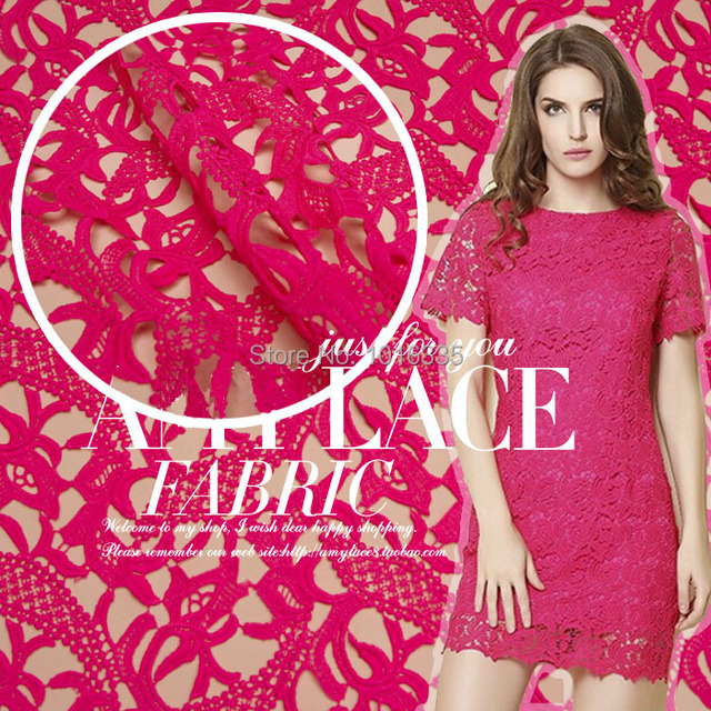 2014 Graceful Fuschia pink african cord lace for ladies tops evening ...