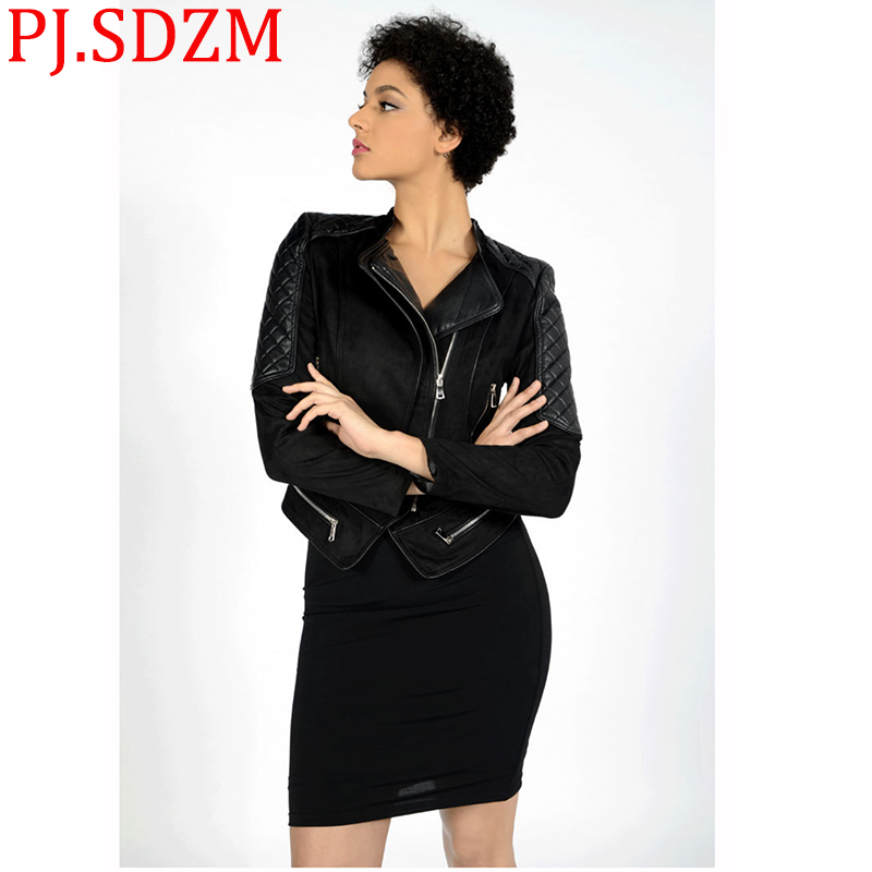Europe Women   Leather   Jackets Black Casual   Suede   Fur Clothing Ladies Short Handsome Slim Zipper Outwear Turn-down Collar Coats