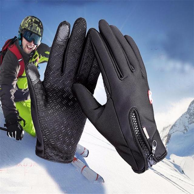 Anti Slip Windproof Thermal Warm Touchscreen Black Zipper Gloves 5