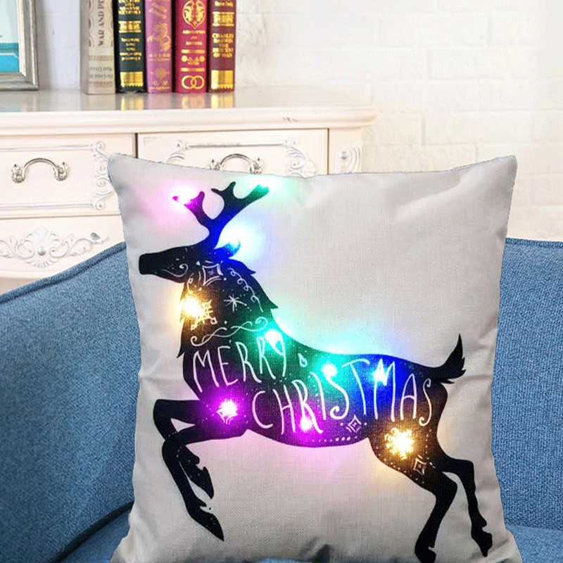 Christmas Xmas Linen Cushion Cover Throw Pillow Case Home: Shining LED Christmas Pillow Cover Cotton Linen Xmas
