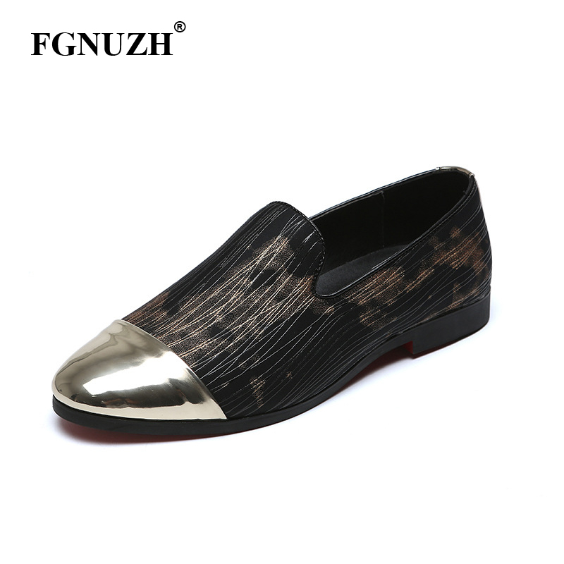 FGNUZH Splice Men Loafers Metal Stitching Elegant Man Soft Dress Shoes Fine Lines Larger Size 38-48 Male Comfortable Flats ST380(China)