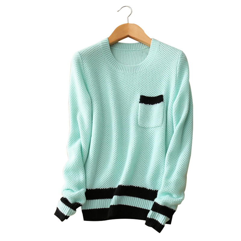 contract color striped knitting pullover 100 cashmere O neck long sleeve pockets font b women b