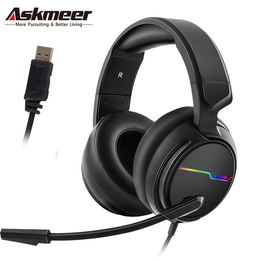 ASKMEER PC Gamer Stereo Gaming Headset casque USB 7.1 Surround Sound Game Headphones with Microphone LED Lights for ComputerASKMEER PC Gamer Stereo Gaming Headset casque USB 7.1 Surround Sound Game Headphones with Microphone LED Lights for Computer