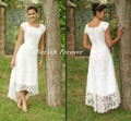 Free Shipping Hot Selling Scoop tea length lace casual dress short sleeve wedding dress HS411