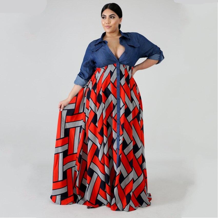 3XL 4XL de talla grande África ropa de moda rayas impresas Maxi vestido con mangas largas de Otoño de las mujeres Vestido largo de fiesta africano