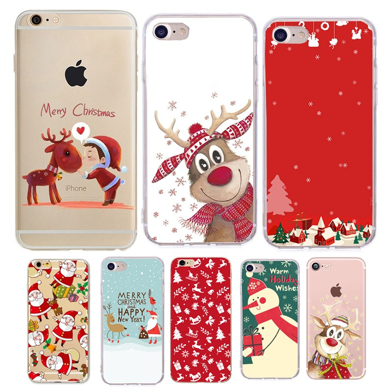 Christmas Iphone X Case.Cartoon Santa Claus Elk Iphone X Case Winter Christmas Deer Painted Cover Soft Cases For Iphone 7 6 6s 8 Plus 5 5s Se