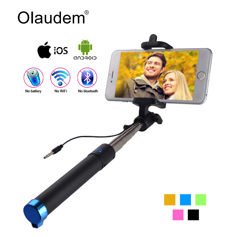 Mini Wired Extendable Handheld Selfie Stick Monopod For IPhone 5 5C 5S