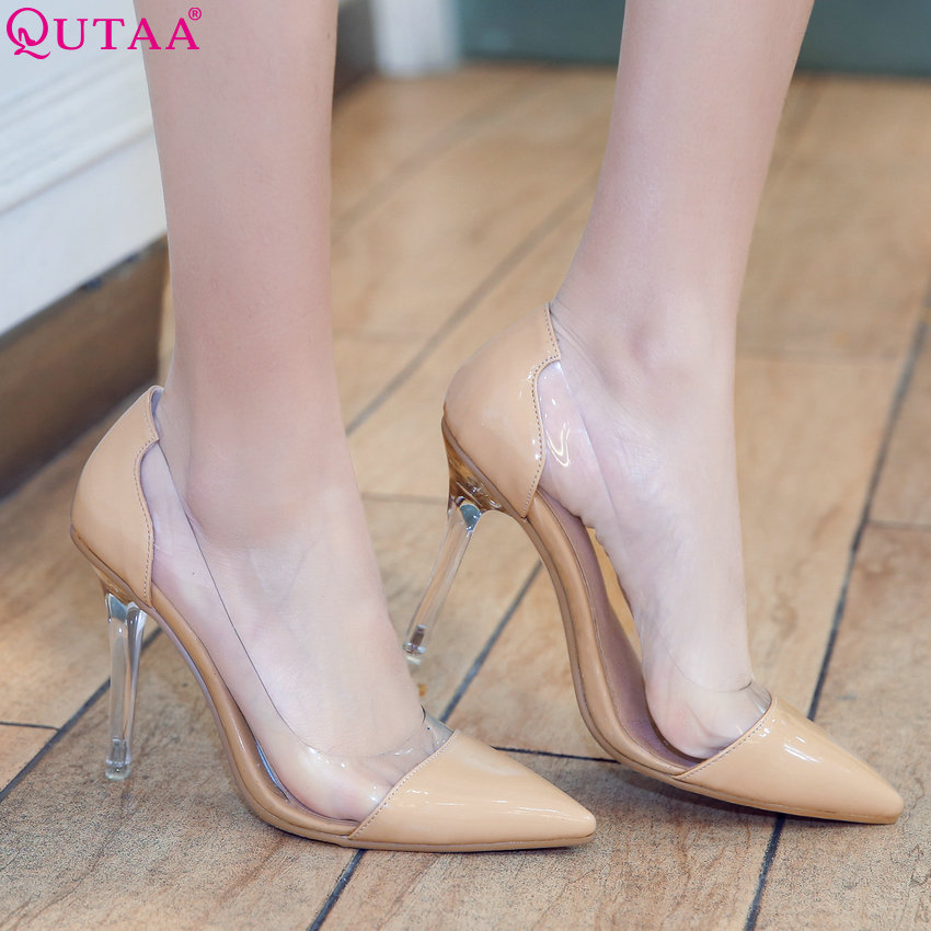 QUTAA 2020 Women Pumps All Match Out Door Pointed Toe Pu Leather Women Shoes Westrn StyleThin