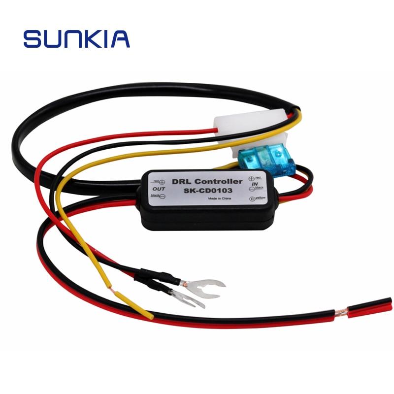 DRL контроллер Авто Светодиодный дневной светильник реле затемнения Вкл/12-18V туман светильник контроллер