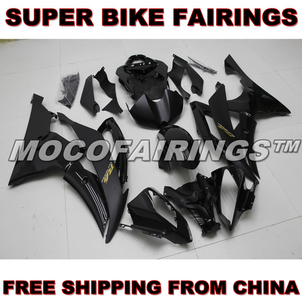For Yamaha YZF-R6 2008-2014 YZF R6 08 09 10 11 12 13 14 ABS Motorcycle Fairing Kit Body Work Set MATTE BLACK hot sales yzf600 r6 08 14 set for yamaha r6 fairing kit 2008 2014 red and white bodywork fairings injection molding