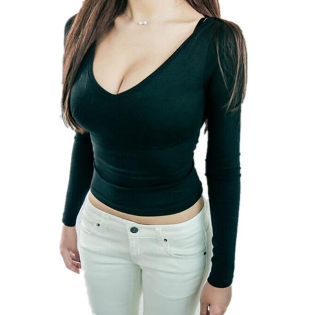 2015 Autumn Women T Shirt Tops New Long Sleeve Korean Black Slim Tight Sexy Deep V -9088