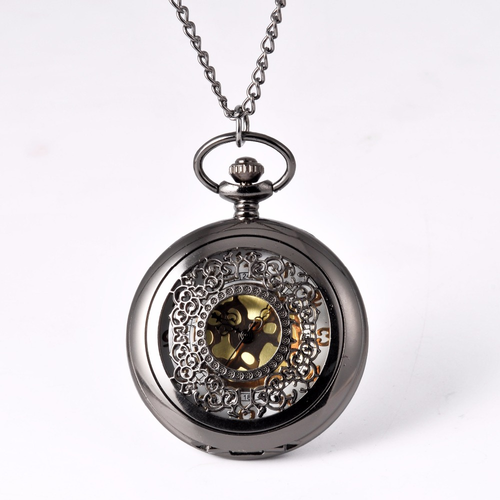Pocket Watch Black Round Delicate Flower Pocket Watch Men Antique Luxury Brand Necklace Pocket & Fob Watches Chain Male Clock