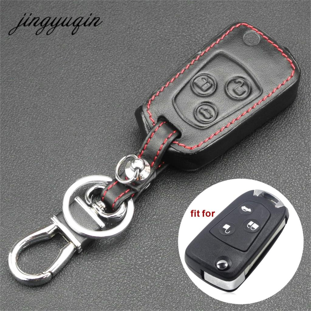 Jingyuqin 3 Button Remote Flip Key Leather Cover For Ford Focus KA Mondeo Fiesta Fob Shell Case