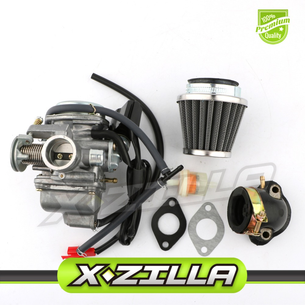 Pd24j carburetor 42mm air filter intake manifold fuel gas filter for gy6 150cc atv scooter 157qmj