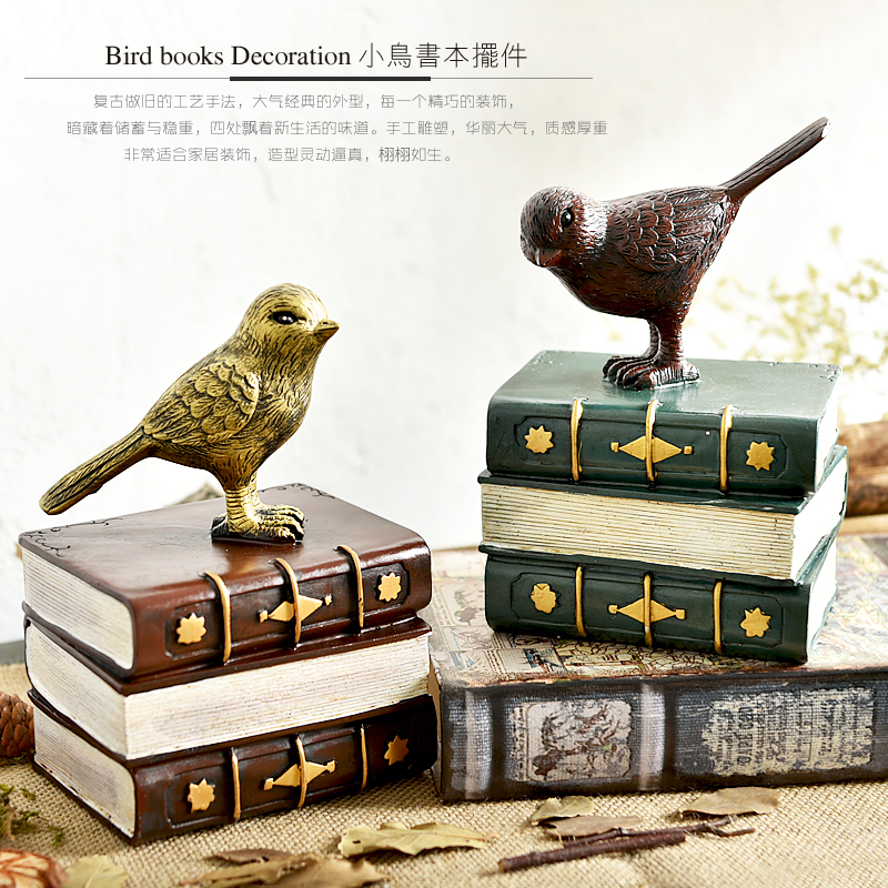Continental Retro Resin Ornaments Bird Books Bookend Study Shelf Living Room Decor Home Furnishing Bookends