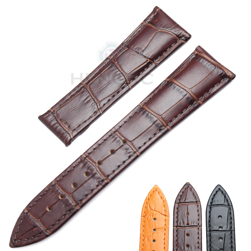 Wholesale 10pcs/set Watchbands 20 22mm Genuine Leather Watch Band Strap Black Brown Orange Belt Replacement No Buckle For Omega replacement alto saxophone leather pads set brown 26 pcs 1 set