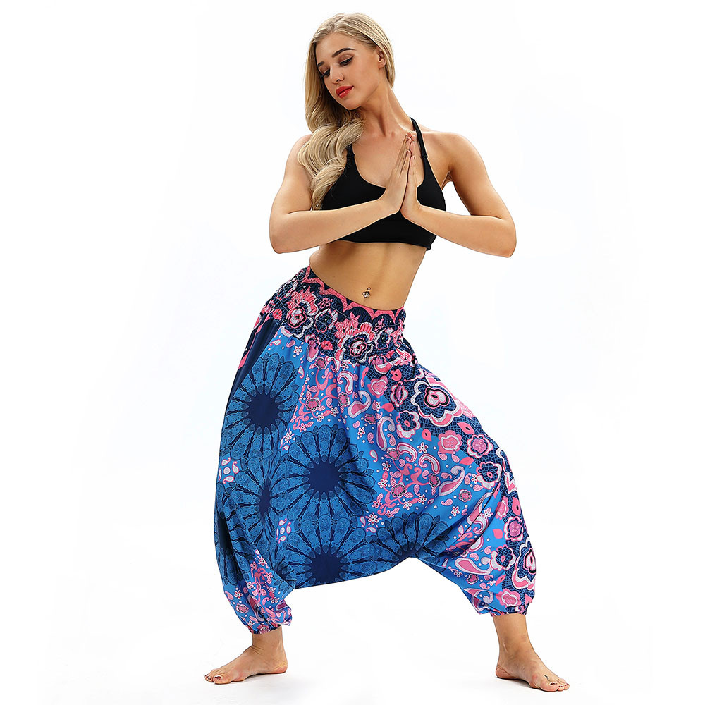 Women Men Pants Casual Woman High Waist Wide Leg Harem Trousers Baggy Boho Loose Aladdin Festival Hippy Jumpsuit Print Lady pant 42