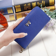 2017 Hot PU Leather Girls New Fashion Lady Women Long Card Holder Case Clutch Wallet Zip Purse Cross Wear-resisting Bow Handbags(China)