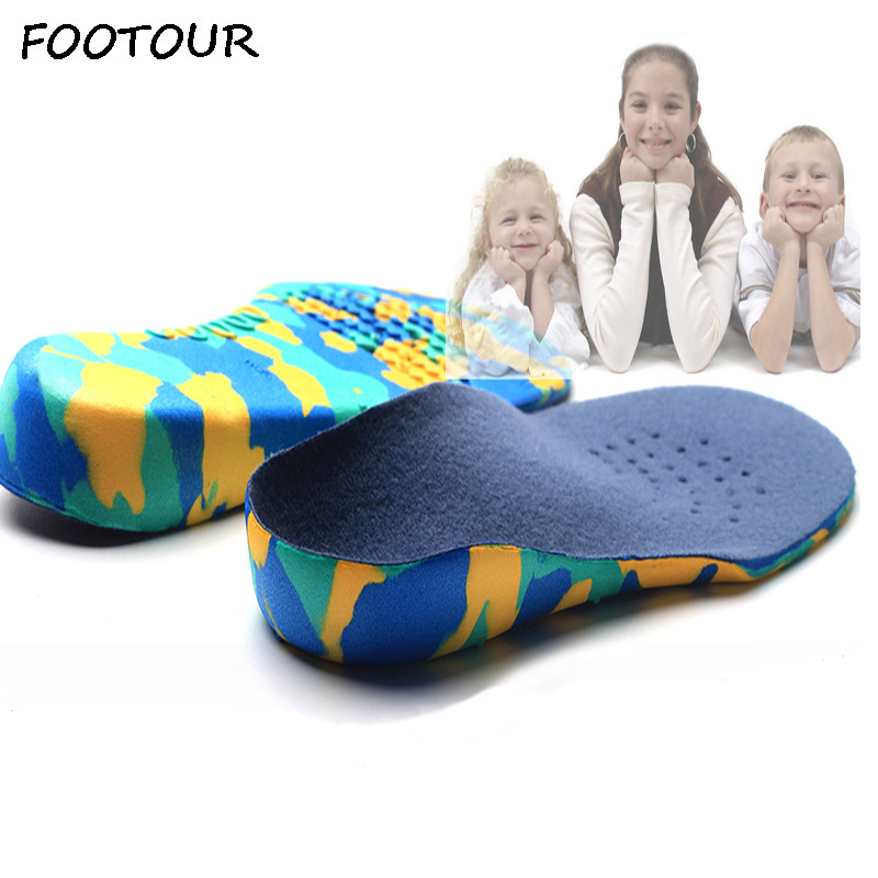 FOOTOUR Kids Orthopedic Insoles EVA Orthopedic Orthotic Arch Support Children Shoes Insoles ...