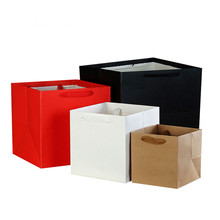 Multi-color optional Square Kraft Paper Gift Bags Holiday Je