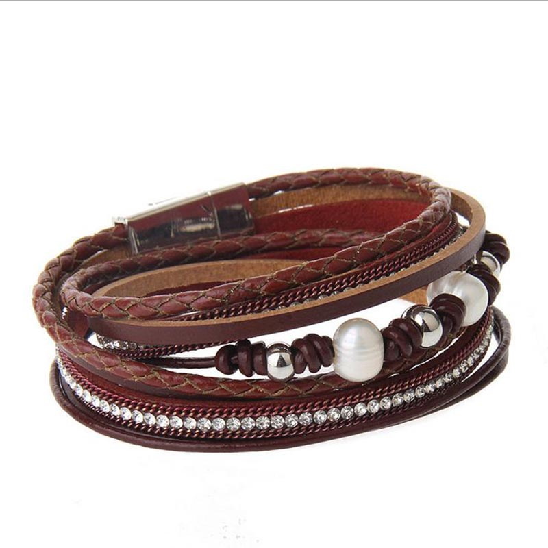 ZG Multilayer Long Women Real Leather Pearl Bracelet In 38cm