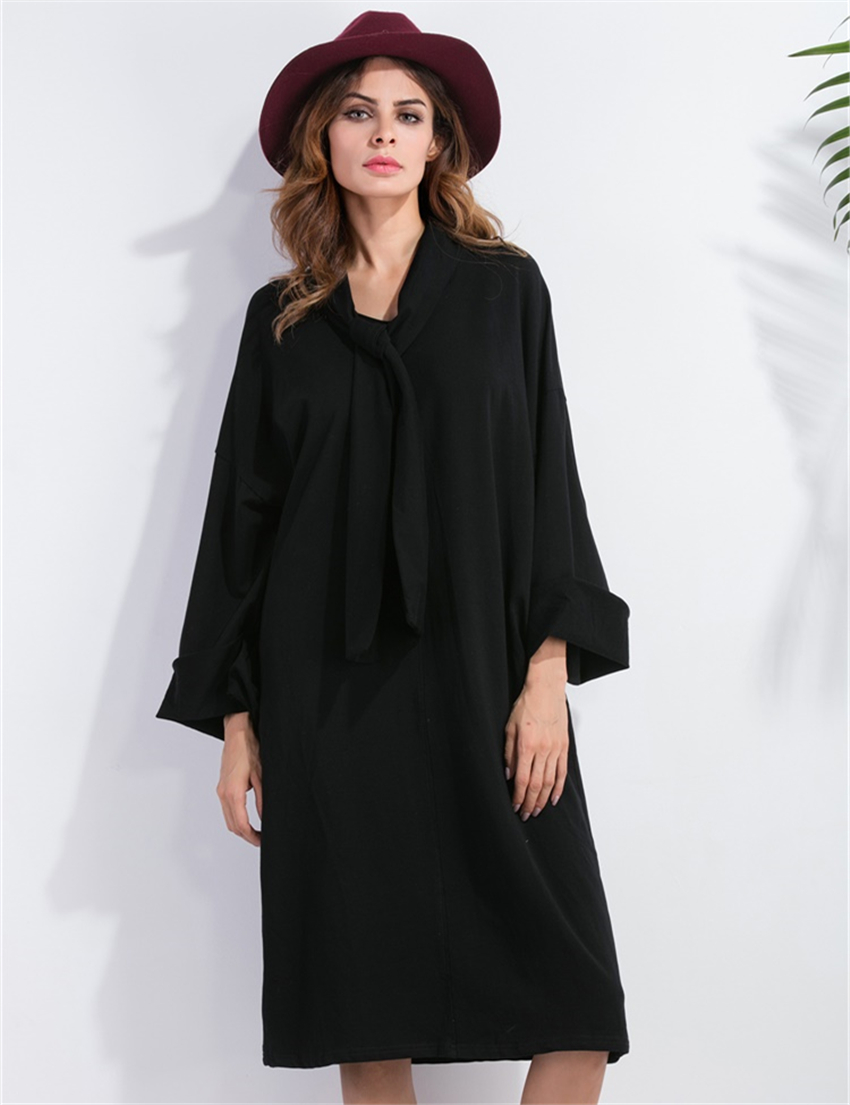Black dress loose - 2017 Autumn New Tie Collar Simple Dresses For Women Full Sleeve Loose Black Dress Fashion Casual