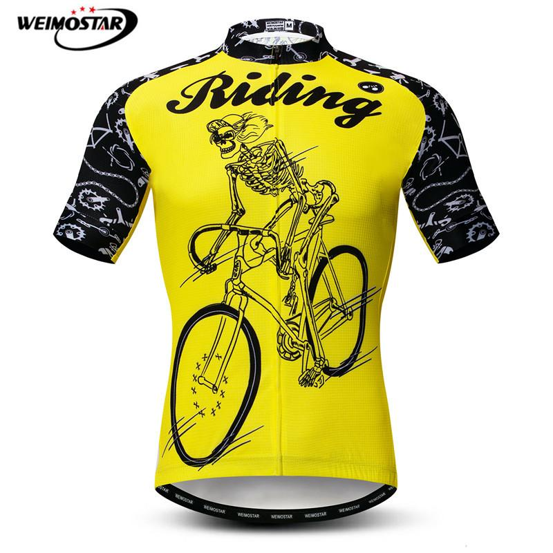 Mens Skeleton Cycling Jersey Breathable Pro Bike Mountain Bicycle Shirt Riding