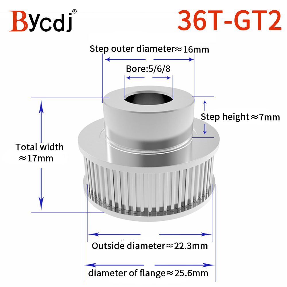 1pcs 36 Teeth <font><b>GT2</b></font> Timing Pulley For 3D Printer Bore 5/6 / 8mm for width 6mm 2GT open Timing Belt Small Backlash 36Teeth <font><b>36T</b></font> image