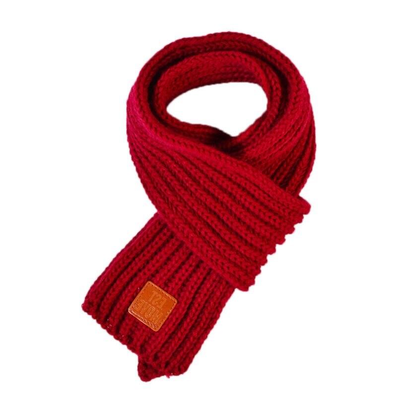 Детский вязаный шарф из акрилового волокна для мальчиков и девочек, плотная зимняя теплая шаль для шеи, шарфы с резиновыми буквами - Цвет: Purplish Red
