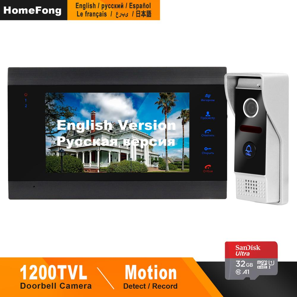 Homefong Video Doorbell Door Phone Doorbell 1200TVL Wide Angle Camera Security Video Intercom Doorbell Picture  Video Recording-in Video Intercom from Security & Protection