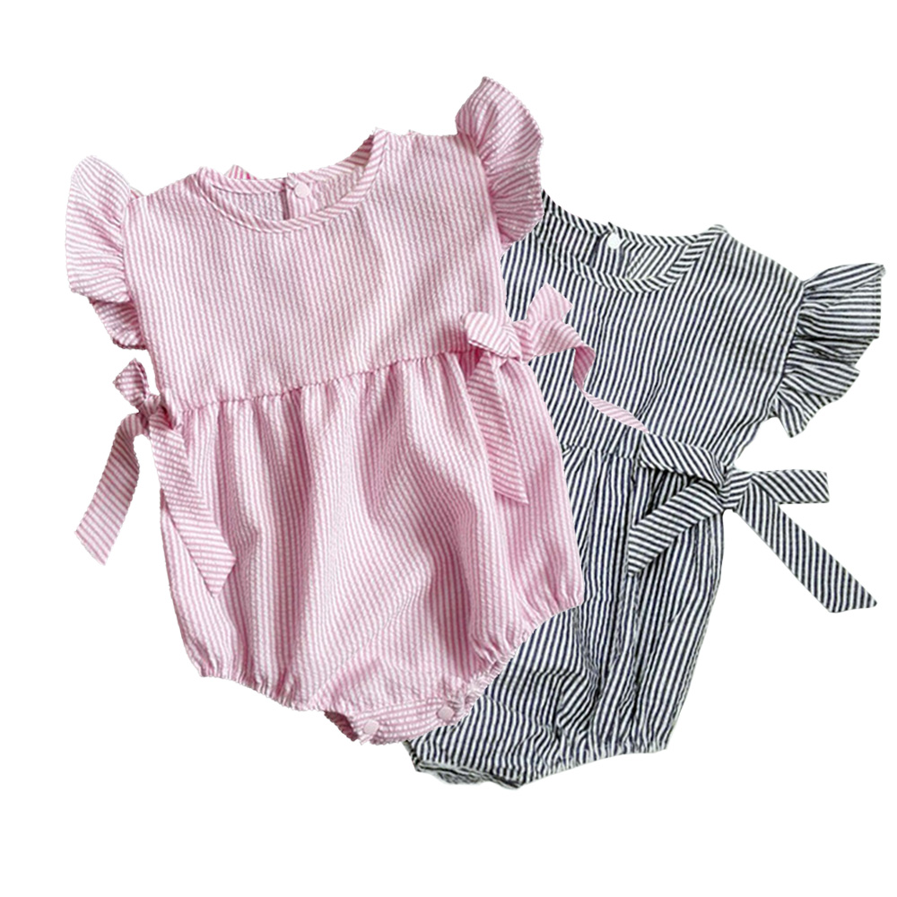 Infant Cute Bow-Knot Cotton Baby Girl Rompers Newborn Stripe Soft Kids Clothes Pullover Bebe De Roupa Toddler Jumpsuit cute baby kids girls first walkers bow knot ribbon soft floral soled crib shoes white