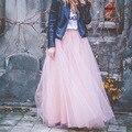 Saia de verão 7 Camadas 100 cm de Tule Maxi Saia Longa faldas saia American Apparel Lolita Petticoat Tutu Saias Das Mulheres Elástico jupe