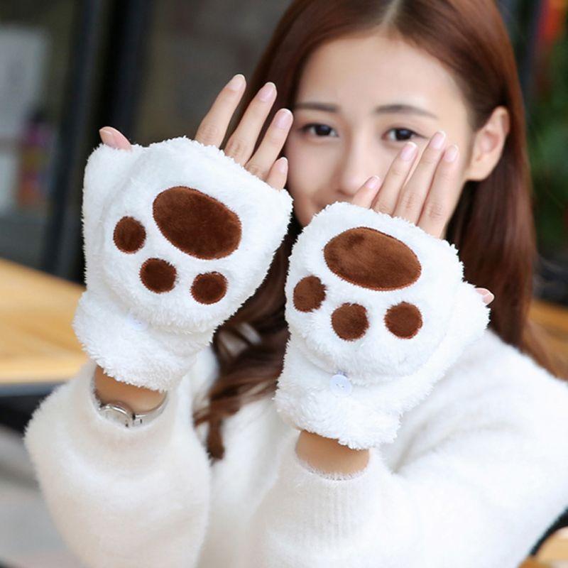 Women Girls Cat Claw Bear Paw Flip Gloves Fingerless Mittens Wrist  With Cover