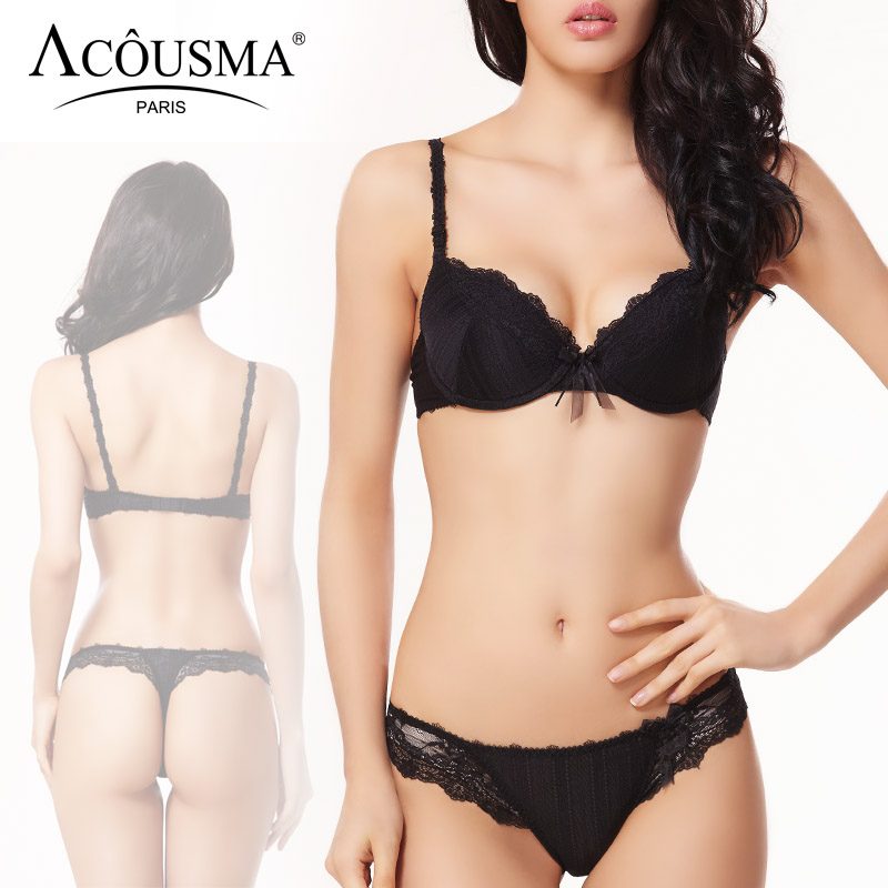 517345b7c1 ACOUSMA Sexy 3 4 Cup Push Up Bra and Panty Sets Floral Lace Lingerie Set