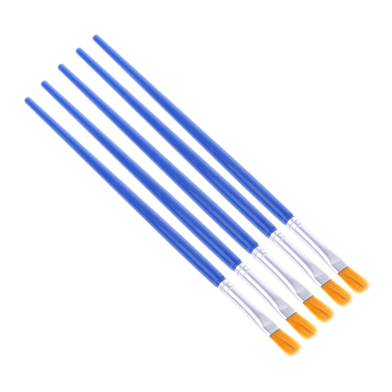 5Pcs Flat Painting Brushes Set Artist Nylon Hair Watercolor Acrylic Oil Drawing