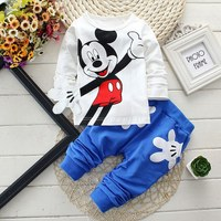 2017 Newborn Baby Boys Clothes Set Cartoon Long Sleeved Tops Pants 2PCS Outfits Kids Bebes Clothing