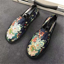 Casual Mixed Colors Slip-On Round Toe Spring Autumn Totem Hemp Flats Men Shoes New Fashion Canvas Cotton Fabric Rubber Fisherman
