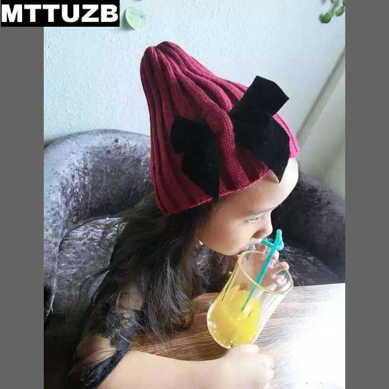 MTTUZB Coréenne style enfants mode bowknot tricoté chapeau fille hiver  chaud bonnets chapeaux de l enfant enfant caps bébé accessoires 8f9def83b42