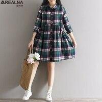2017 New Spring Autumn Casual Loose Waist Plaid Dress Cotton Plus Size M XL Women Clothing