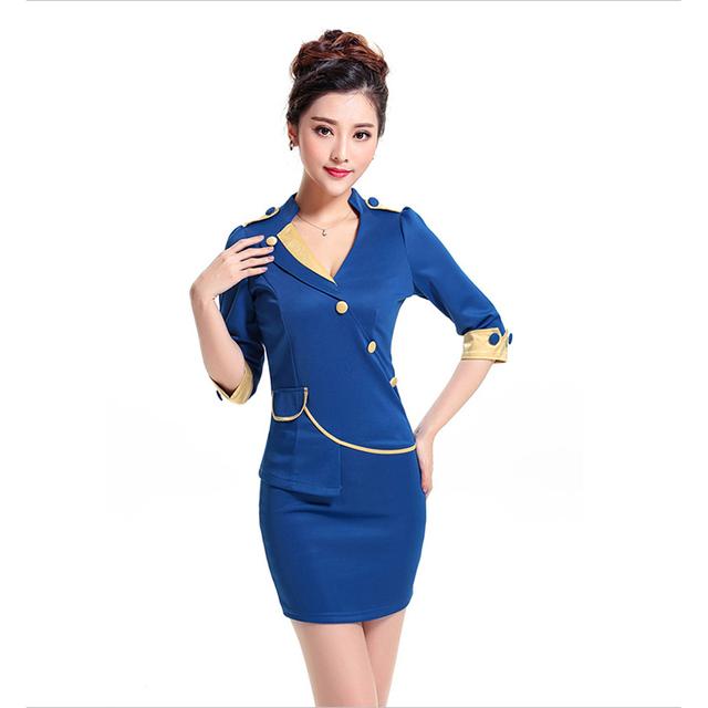 Frete grátis nova chegada Fit amarelo saia ternos meia manga fino saia para as mulheres trabalho azul para senhora do escritório S-XXXL