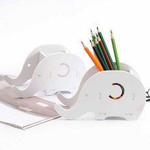 Home Office Desktop Organizer Stationery Pencil Holder Wood Elephant Pencil Holder Phone