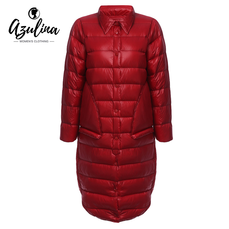 AZULINA Women Winter Warm Down Coat Long Sleeve White Duck Down Solid Red Female Outwear Parka