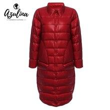 AZULINA Women Winter Warm Down Coat Long Sleeve White Duck Down Solid Red Female Outwear Parka 2016 Slim Coats Long Overcoat