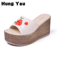 Retro Embroidery Women Wedges Sandals Summer Style Platform Shoes Woman Casual Thick High Heels Creepers Slippers