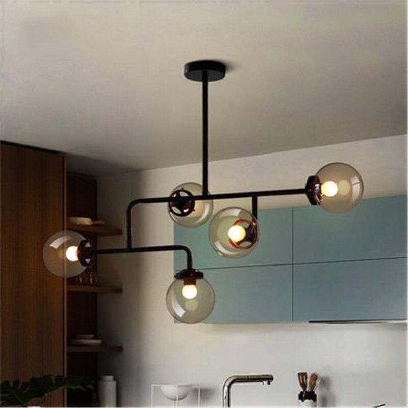 Nordic Loft Concise Glass Molecular Pendant Light Bedroom Kitchen Art Globe Designer Hanging Light Living Room Bar Led Lights цены
