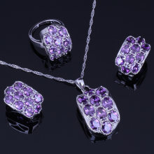 Eye-Catching Oval Ungu Cubic Zirconia Perhiasan Berlapis Perak Set Anting-Anting Liontin Rantai Cincin V0248(China)