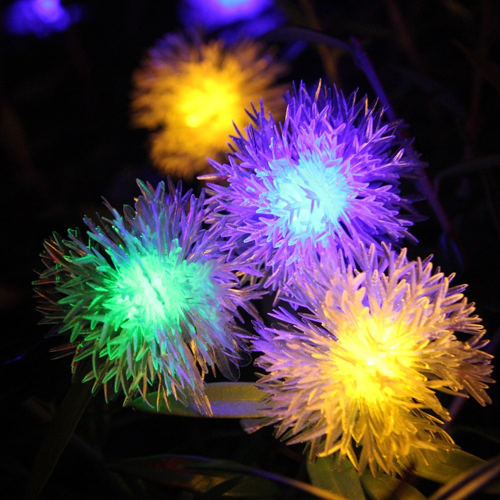 Solar Lamp Colorful Snow Ball 4.8m 20 leds for Lawn Holiday Decoration 4 Color