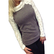 2017 European Women Fashion Sweater Autumn Winter Pullover Turtleneck Patchwork Lace Long Sleeve Jumper Knitted Tops